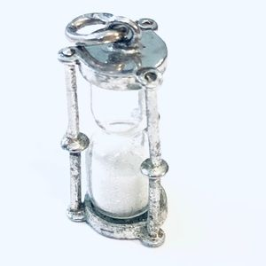 Vintage Sterling Sand Hourglass Timer Charm,